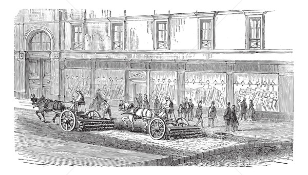 People sweeping the street with carts vintage engraving Stock photo © Morphart