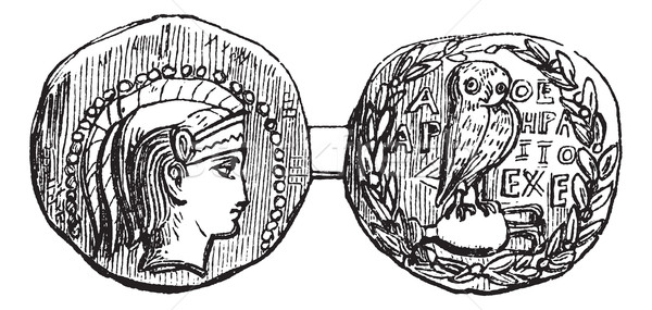 Tetradrachm from Athens or Greek Silver Coin, vintage engraving Stock photo © Morphart