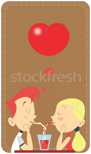 пару любви стекла ресторан молодые ретро Сток-фото © Morphart