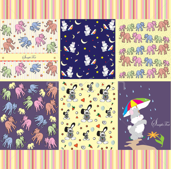 Set of six (6) childrens party invitation cards with cute abstra Stock photo © Morphart