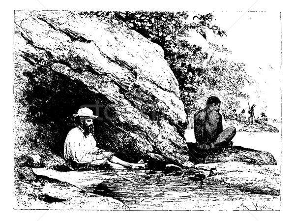 In the Shade of a Large Rock in Oiapoque, Brazil, vintage engrav Stock photo © Morphart