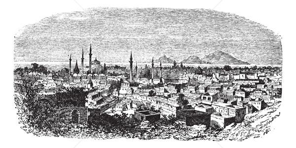 Konieh or Koniah city anciently known as Iconium vintage engravi Stock photo © Morphart