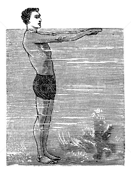 Drugi pozycja vintage wyryty ilustracja encyklopedia Zdjęcia stock © Morphart