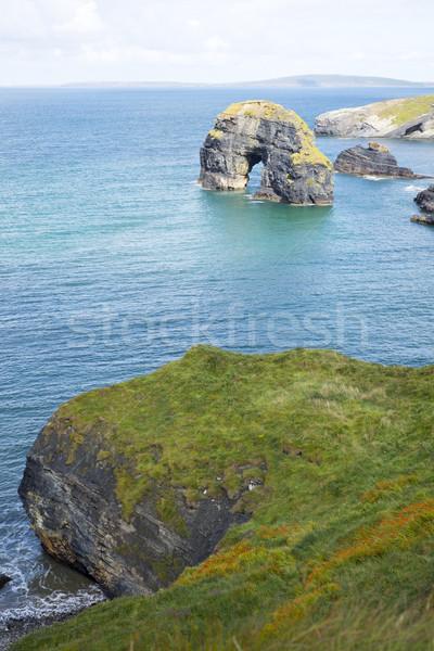 Belo virgem rochas alto grama Foto stock © morrbyte