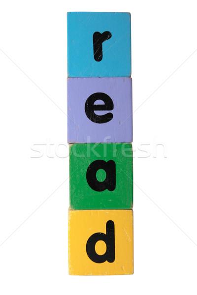 Leer texto juguete cartas Foto stock © morrbyte