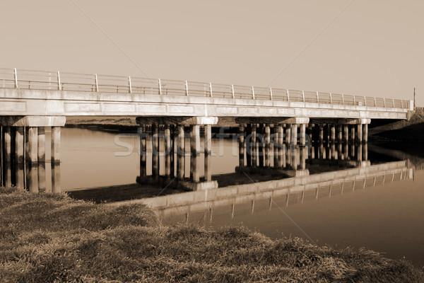 Irlandzki drogowego most zimno rzeki sepia Zdjęcia stock © morrbyte