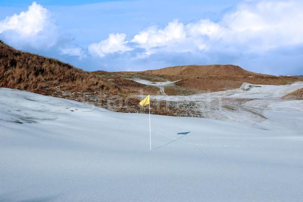 Сток-фото: покрытый · ссылками · гольф · желтый · флаг
