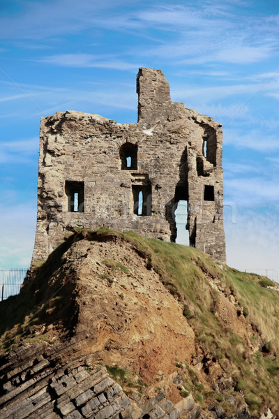 ballybunion castle ruin on a beautiful rock face Stock photo © morrbyte