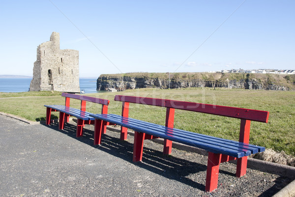 benches and path to Ballybunion castle Stock photo © morrbyte