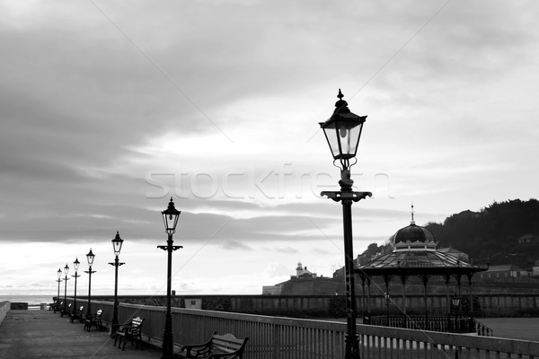 row of vintage lamps in black and white Stock photo © morrbyte