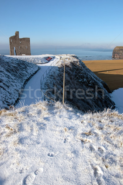 Stock photo: christmas seasonal view of ballybunion castle and beach in snow