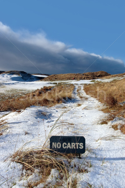no carts sign on a snow covered links golf course Stock photo © morrbyte