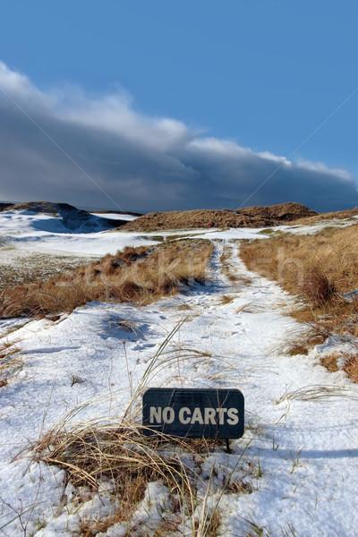 Stockfoto: Geen · teken · sneeuw · gedekt · links · golfbaan