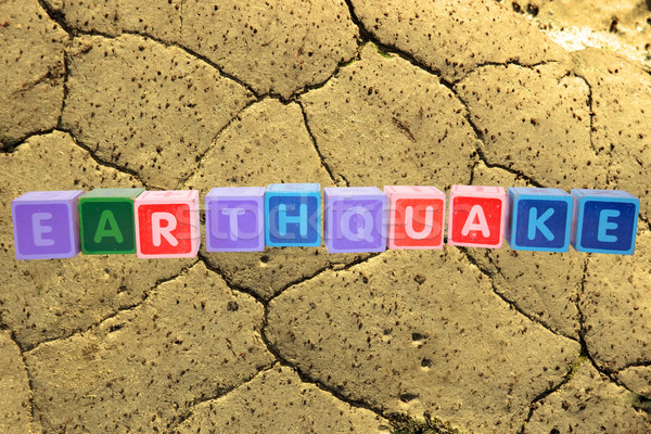 earthquake in toy block letters Stock photo © morrbyte