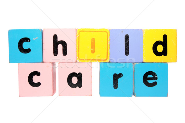 childcare  in toy play block letters with clipping path Stock photo © morrbyte