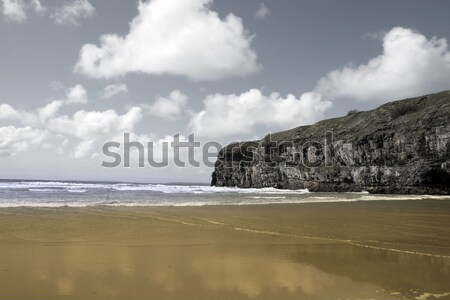 Atlantic waves on Ballybunion beach and cliffs Stock photo © morrbyte