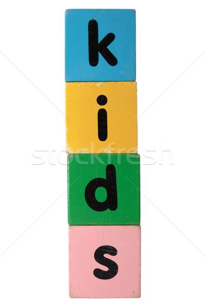 Ragazzi blocchi bianco giocattolo lettere Foto d'archivio © morrbyte