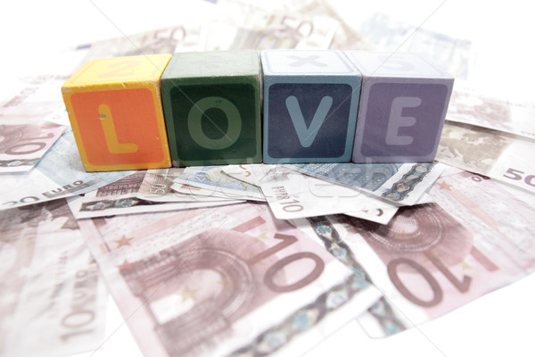 love in toy play block letters on cash Stock photo © morrbyte