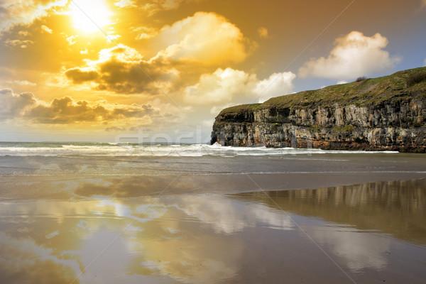 Ballybunion beach and cliffs wth Atlantic sunset Stock photo © morrbyte
