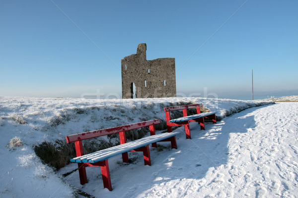 winters path to ballybunion castle and red benches Stock photo © morrbyte