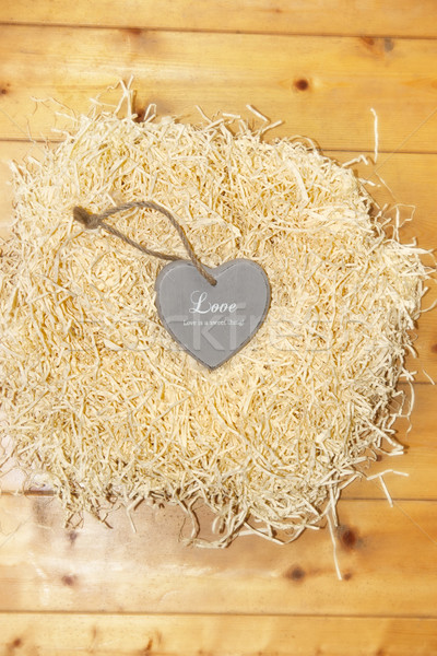 lone heart in a love nest Stock photo © morrbyte