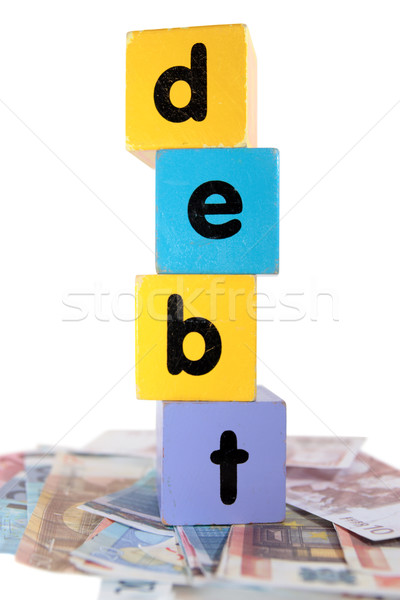 money debt in toy play block letters Stock photo © morrbyte