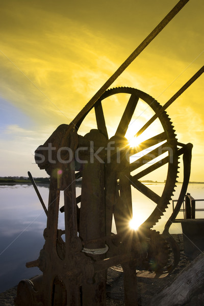 crane gears on Salleen pier with sunset Stock photo © morrbyte