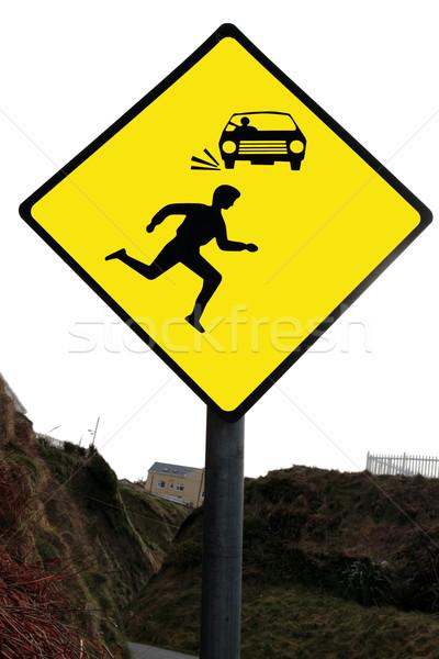 Citromsárga gyalogos figyelmeztető jel autók gyalogosok fehér Stock fotó © morrbyte