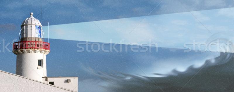 lighthouse storm waves Stock photo © morrbyte