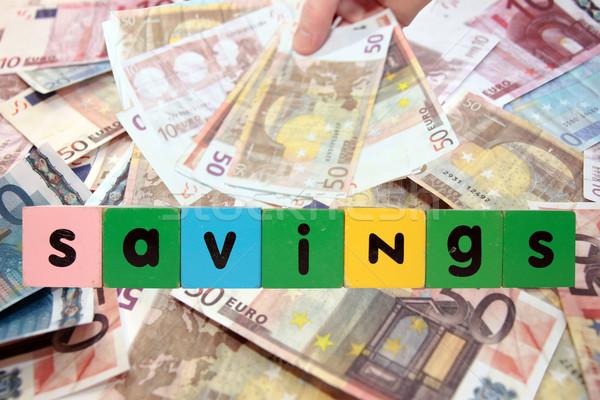Euro nota risparmio giocattolo lettere soldi Foto d'archivio © morrbyte