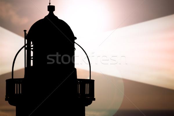 Stok fotoğraf: Deniz · feneri · güneş · arkasında · ev · Bina · gün · batımı