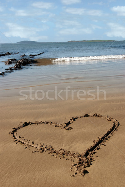 sandy love heart Stock photo © morrbyte