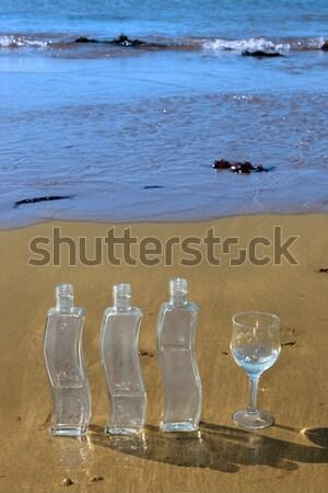 Bere bottiglia vetro naturale acqua Foto d'archivio © morrbyte
