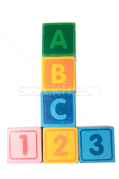 abc 123 in wooden block letters with clipping path Stock photo © morrbyte