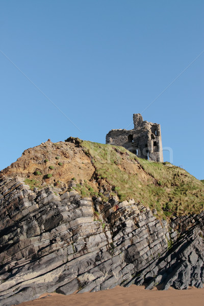 ballybunions castle on the cliffs Stock photo © morrbyte