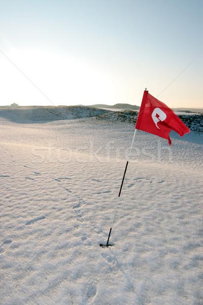 Nieve cubierto enlaces campo de golf rojo bandera Foto stock © morrbyte