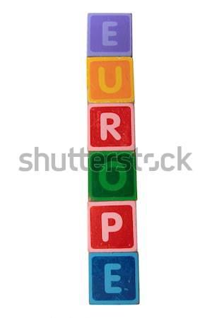 Brinquedo de madeira cartas brinquedo branco Foto stock © morrbyte