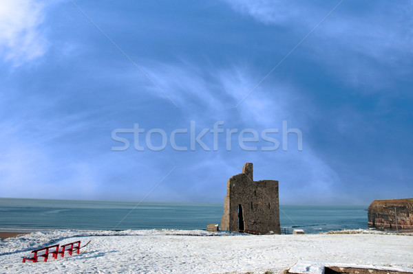 christmas view of ballybunion castle and red benches Stock photo © morrbyte