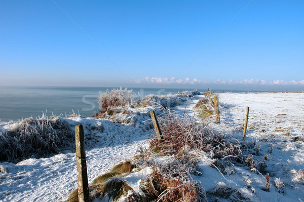 seasonal snowy frost covered slippery cliff walk Stock photo © morrbyte