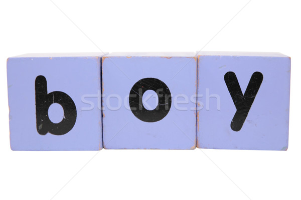 boy in toy play block letters with clipping path Stock photo © morrbyte