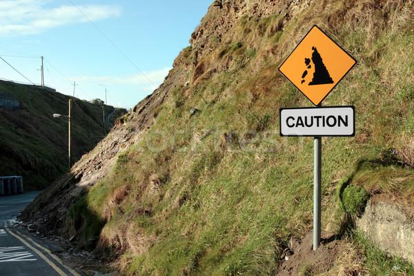 Rischio cartello stradale segno strada panorama montagna Foto d'archivio © morrbyte