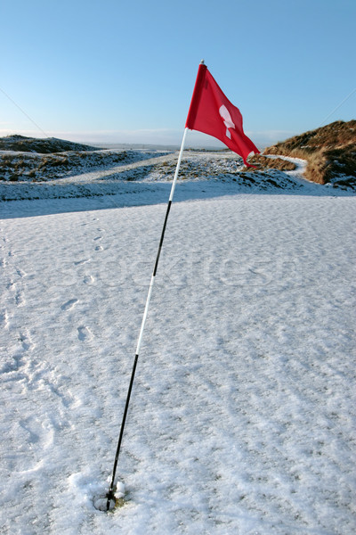snow covered links golf course flag Stock photo © morrbyte