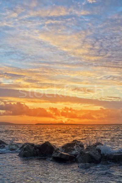 желтый закат мягкой воды пляж Сток-фото © morrbyte