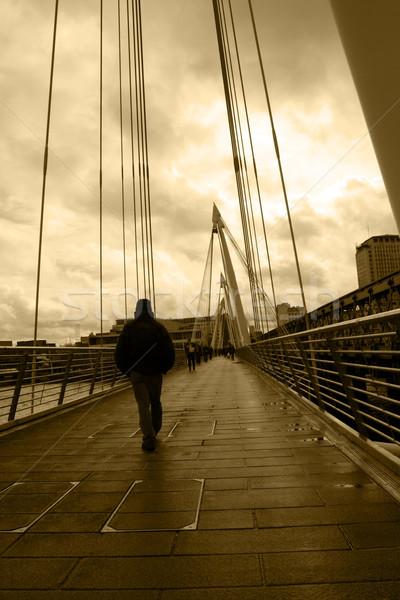 Londen stad brug hangbrug theems bouw Stockfoto © morrbyte