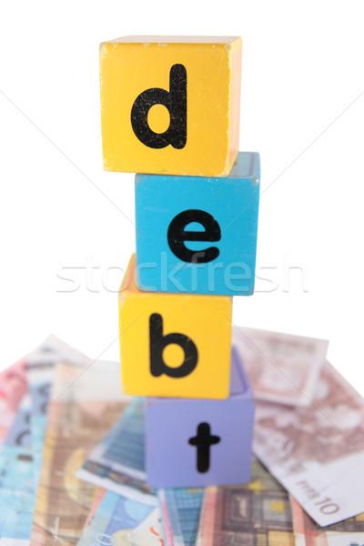 Euro contanti debito giocare lettere giocattolo Foto d'archivio © morrbyte