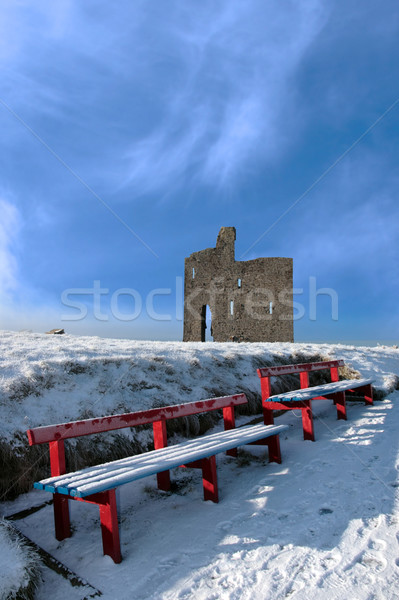winters pathway to ballybunion castle and red benches Stock photo © morrbyte