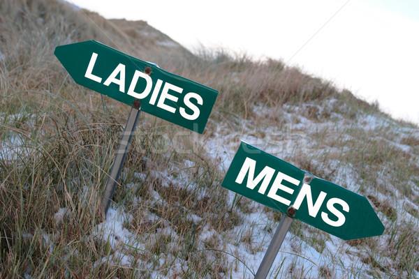 Hölgyek felirat fölött feliratok golfpálya tél Stock fotó © morrbyte
