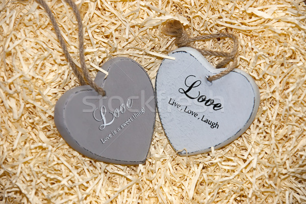 two wooden love hearts with loving inscriptions Stock photo © morrbyte