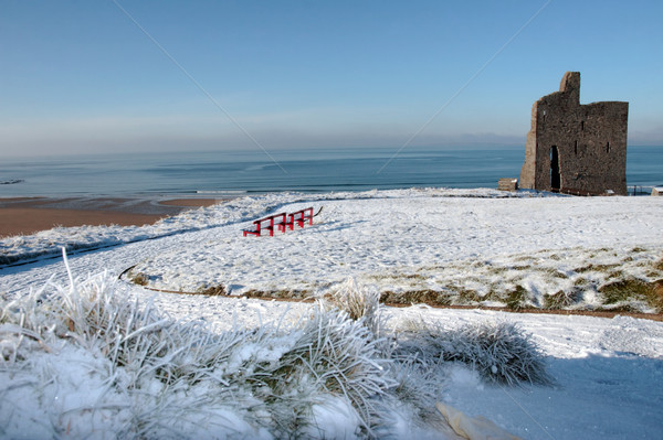 pathway in winter to ballybunion castle and red benches Stock photo © morrbyte