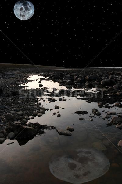 Photo stock: Pleine · lune · plage · gris · roches · Irlande · froid